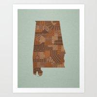 alabama Art Prints featuring Alabama by MattBlanksArt