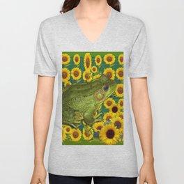 AVOCADO GREEN BOG FROG & YELLOW FLOWERS Unisex V-Neck
