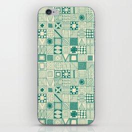 geo wolf teal ivory iPhone Skin