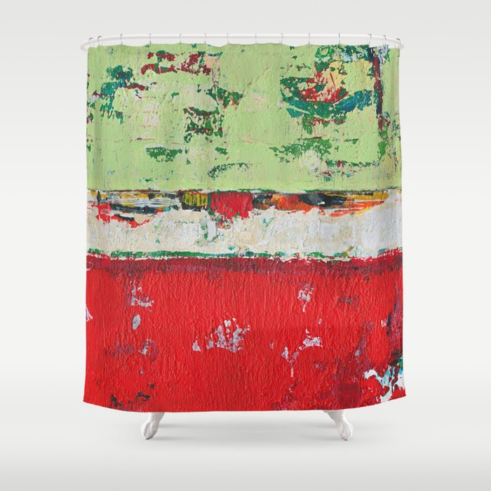 Dixon Red Green Abstract Painting Print Shower Curtain By Shawnmcnulty