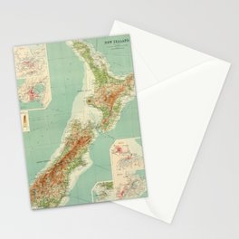 Vintage Map of New Zealand (1922) Stationery Cards