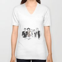 one direction V-neck T-shirts featuring One Direction by Stephanie Recking