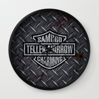 sons of anarchy Wall Clocks featuring SAMCRO Teller-Morrow of Charming (Sons of Anarchy / Harley-Davidson) by HuckBlade