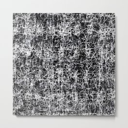 psychedelic abstract art texture background in black and white Metal Print