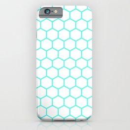 Honeycomb (Turquoise & White Pattern) iPhone Case