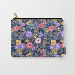 Cute pattern in small flower. Lilac, pink and yellow flowers. Carry-All Pouch