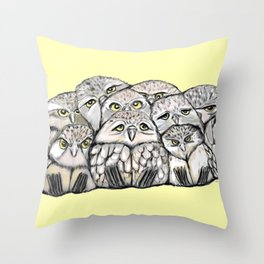Baby Owls Pile Throw Pillow