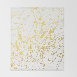 Splat White Gold Throw Blanket