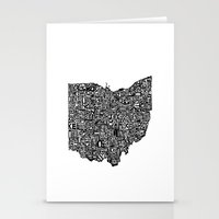 ohio state Stationery Cards featuring Typographic Ohio by CAPow!
