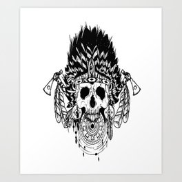 Indian chief , skull art , custom gift design Art Print