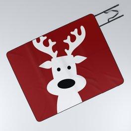 Reindeer on red background Picnic Blanket