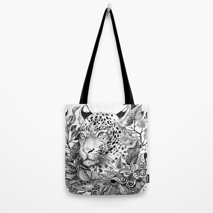 black and white jungle leopard Tote Bag