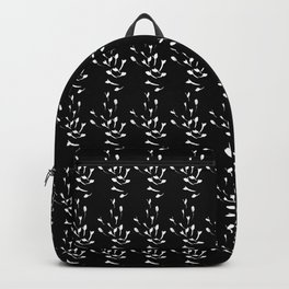 Black and White Sprig Pattern Backpack