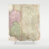 poland Shower Curtains featuring Vintage Map of Poland (1818) by BravuraMedia