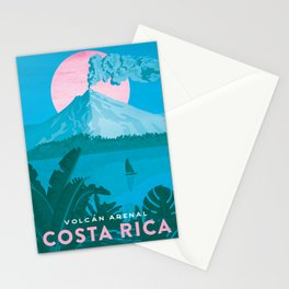 Costa Rica, Volcano Arenal Vintage Travel Poster Stationery Cards