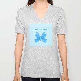 Blue Butterfly Aunty - Origami Blue Butterfly Unisex V-Neck