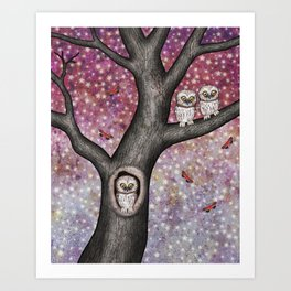 enchanted owls, moths, stars Art Print