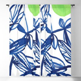 Navy blue and lime green abstract leaves Blackout Curtain