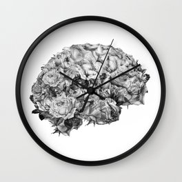 flower brain black and white Wall Clock