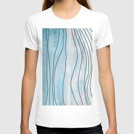 Blue Pastel Irregular Aerial Watercolor Topography T-shirt