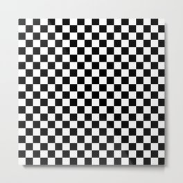 Checker (Black & White Pattern) Metal Print