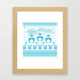 Cute Blue Scandinavian Penguin Holiday Design Framed Art Print