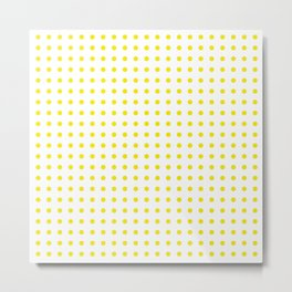 Lemon yellow and white polka dots Metal Print