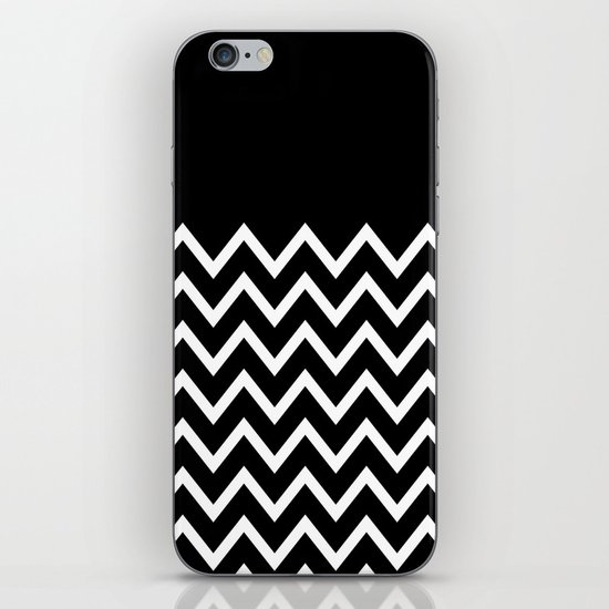 White Chevron On Black iPhone & iPod Skin