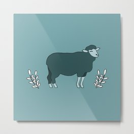 Green Sheep on Fleek Metal Print