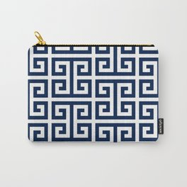 Dark Navy Blue and White Greek Key Pattern Carry-All Pouch