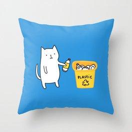 Cat recycles plastic Throw Pillow