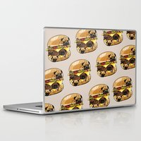 pugs Laptop & iPad Skins featuring Pugs Burger by Huebucket