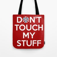 tony stark Tote Bags featuring Tony Stark Quote by EmeraldSora