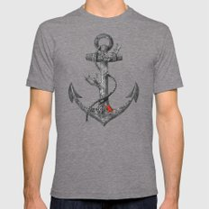 Lost at Sea - mono Tri-Grey Mens Fitted Tee LARGE