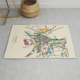 Colorful City Maps: Ithaca, New York Rug