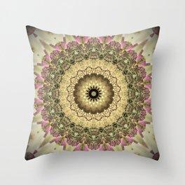 Vintage Gold Pink Mandala Design Throw Pillow