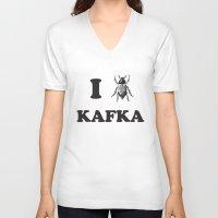 kafka V-neck T-shirts featuring Kafka by Ana Laya