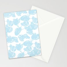 Blue monstera tropical leaves print Stationery Cards