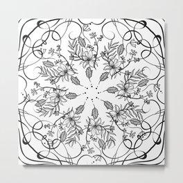 BLACK AND WHITE FLORAL MANDALA Metal Print