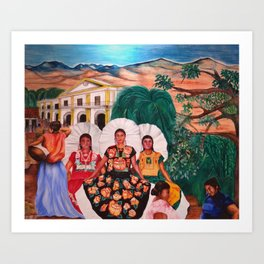 Zapotec Women and Indigenous Dress, Tehuantepec, Isthmus Region, Oaxaca, Mexico portrait painting Art Print