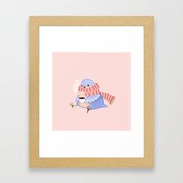 Cozy Canaries- Coffee Canary  Framed Art Print