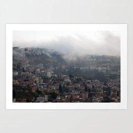 Nazareth, Israel on a rainy morning Art Print