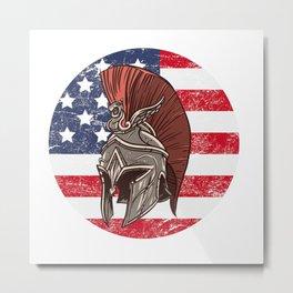 USA American Spartan  TShirt Warrior Shirt Flag Gift Idea Metal Print