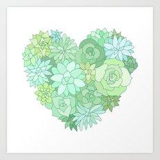 Succulent heart Art Print