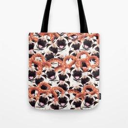 Funny Pug Pretzel Crazy Collage Tote Bag