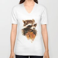 rocket raccoon V-neck T-shirts featuring Rocket by cos-tam