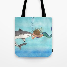 The Shark and the Mermaid Tote Bag
