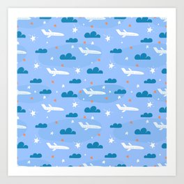 Small flying airplane around clouds Art Print