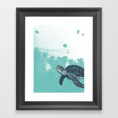 Sea Foam Sea Turtle Framed Art Print