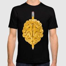 Pencil Brain Black Mens Fitted Tee MEDIUM